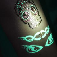 Gold And Silver Foil Glow In The Dark Temporary Tattoos Waterproof Non Toxic Manufactures