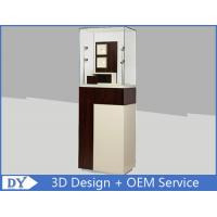 Custom Wooden Coating Jewelry Tower Showcases With LED Light Brown Color Manufactures