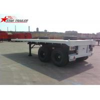 Two Axle 20FT 8 Tires White Flatbed Car Trailer With Twist Locks , Long Life Manufactures