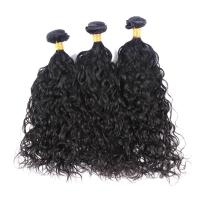 China 100 Unprocessed Brazilian Water Wave Human Hair , Natural Black Curly Hair Bundles  on sale