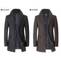 Medium To Long Slim Herringbone Men's Winter Coat With Zipper / Button For Business Manufactures