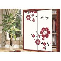 Beautiful Pink / Purple Flower Wardrobe Sliding Door , Carved 9mm UV MDF Board Manufactures