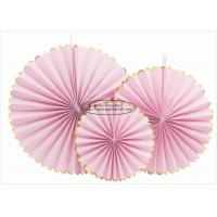 China Single Color Pink Paper Fans Party Favors 14 Inch For Home Decoration on sale