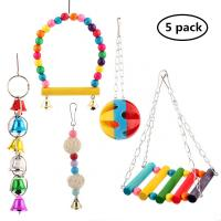China 5pcs Bird Parrot Toys Hanging Bell Pet Bird Cage Hammock Swing Toy on sale