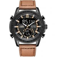 leather strap digital analog dual time men chronograph sports watch waterproof sports watch Manufactures
