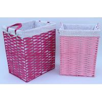 Rope woven hamper, paper storage basket, laundry basket with facric lining,pink color Manufactures