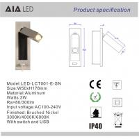 Rotate USB headboard wall light 3W led bedside wall light indoor reading wall lamp Manufactures