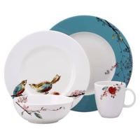 China Customized White Porcelain China Dinnerware Sets With Bird And Flower Decal Printing on sale