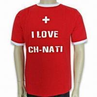 China Men's Promotional T-shirt with Logo Printing on Center Front, Made of 100% Cotton on sale