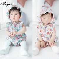 Angou baby Girls Print Flower Rompers Cute Floral Jumpsuits Clothing Sets Romper+Hat 2 pcs Manufactures