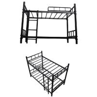 China Twin Over Strong Metal Bunk Beds , Metal Twin Bunk Beds Safety Guard Rails Flat Ladder on sale