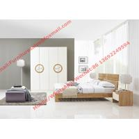Modern design KD bed furniture set by melamine and white glossy door wardrobe Manufactures
