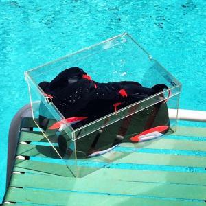 China High Gloss Acrylic Storage Box Clear Acrylic Shoe Box With Custom Logo on sale
