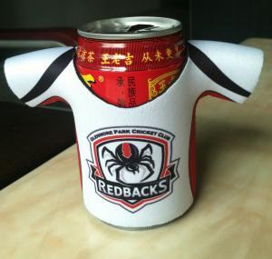 China fashionable customized neoprene T-shirts bottle cooler / Sport jersey shape stubbies on sale