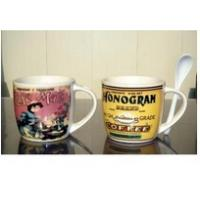 Certification SGS/CE Export 9303 spoon ceramic mug with handle custom LOGO coffee mark cup Manufactures