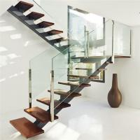 Interior modern design glass railing straight staircase in high quality Manufactures