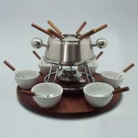 China 24-piece S/S Fondue Set with Acacia Handle and Chrome Stand on sale
