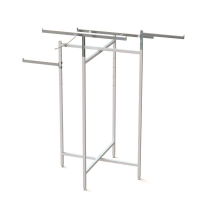 Adjustable Height 4 Arms Chrome Square Tube Metal Clothing Display Rack Manufactures