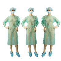 China Lightweight Non Woven Garments / Hospital Patient Gown Kintted Cuffs on sale
