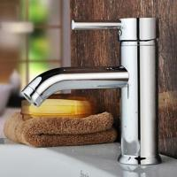 Home Ceramic Basin Faucet Single Hole Bathroom Sink Faucet Chrome Finish , HN-4A34 Manufactures
