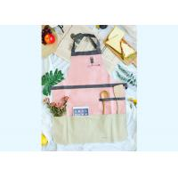 China Back Coating Waterproof Canvas Garden Apron With Suede And Zipper Pocket on sale