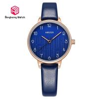 China Elagant Blue Leather Strap Watch , Causal Female Simple Waterproof Watch on sale