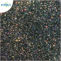 Flat Glitter Polyester Fabric Squares , Glitter Clothing Fabric Canvas Backing Manufactures