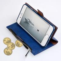 Magnetic Detachable Wallet Zipper Flip PU Leather Iphone Case With Credit Card Slot Manufactures