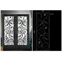 China Natural Lighting Elegant Inlaid Door Wrought Iron Glass For Building Hand Forged Dignified on sale