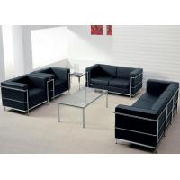 3 Seater Contemporary Leather Sofa Upholstered Back With Stainless Steel Frame