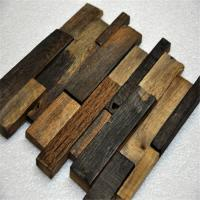 Old Ship Wood Mosaic Wall Panels , Mixed Color Wood Mosaic Tile For Shop Manufactures