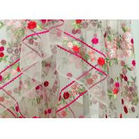 China Floral Heavy Embroidered Lace Fabric , Polyester Mesh Fabric With Multi Color Embroidery on sale