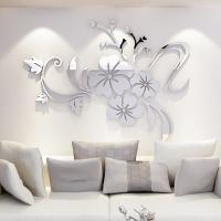 Quality model 720 flower acrylic wall mirror sticker with self adhesive for decoration for sale
