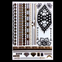 Colorful Temporary Metallic Jewelry Tattoo Stickers , Boys Temporary Tattoos Manufactures