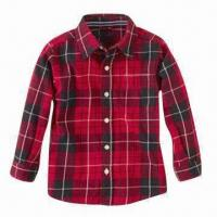 Baby Shirt, Long-sleeved, 1 Pocket on Front, Made of 100% Checkered Cotton, Pre-washed Manufactures