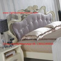 Quality Flowers Headboard Wooden Bed in Neoclassical fabric design for luxury multiple star B& B Room Furniture for sale