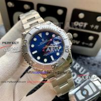 Perfect Replica Rolex Yachtmaster Blue Dial Stainless Steel Bezel Oyster Band Watch Manufactures