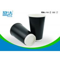 16oz Disposable Black Recyclable Paper Cups With Double Structure Design Manufactures