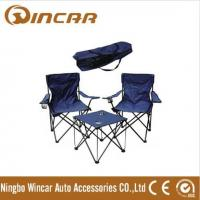 600D fabric folding camping table have 2 chairs with armrest and cup holder Manufactures