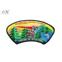 Twill Background Fabric Boy Scout Uniform Patches 100% Embroidery With Merrowed Border