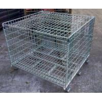 China Welded steel lockable wire mesh pallet cage with cover galvanized customized size storage cage on sale