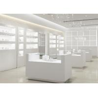 Simple Wooden In Pure Matte White Jewelry Shop Decoration With Led Light Manufactures