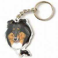 Sheepdog Printed Keychain with Standard Chains and Split Ring Manufactures