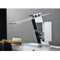 China Waterfall LED Light Bathroom Basin Faucets Single Handle Durable Featuring on sale