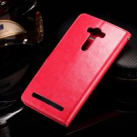 Quality Asus Zenfone 2 Laser Cell Phone Leather Wallet Case Crazy Horse With Custom Logo for sale