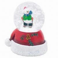 Christmas Snow Globe, Made of Polyresin, Comes in Various Designs, Meets American/European Standards Manufactures