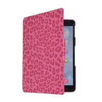 Ultra slim red leopard synthetic leather flip case smart stand for ipad 5,auto sleep awake Manufactures