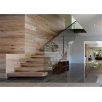 Glass Railing Wooden Floating Steps Staircase Stable Wooden Box Treads CE Approval Manufactures