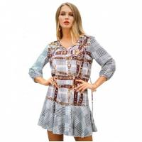 China N1C3096 Ladies Casual Beach Dresses Striped Casual V Neck Short Dress on sale