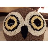 China Brown Sofa Crochet Cushion Cover Acrylic Embossed Crochet Owl Cushion on sale